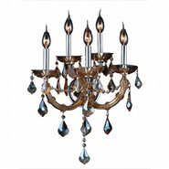 W23115C15-AM Lyre 5 Light Chrome Finish with Amber Crystal Wall Sconce - Discontinued