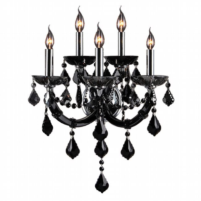 W23115C15-BL Lyre 5 Light Chrome Finish with Black Crystal Wall Sconce - Discontinued
