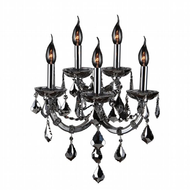 W23115C15-CH Lyre 5 Light Chrome Finish and Chrome Crystal Wall Sconce Light - Discontinued