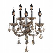 W23115C15-GT Lyre 5 Light Chrome Finish with Golden Teak Crystal Wall Sconce