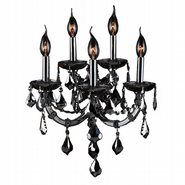 W23115C15-SM Lyre 5 Light Chrome Finish with Smoke Crystal Wall Sconce