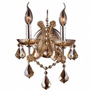W23116C10-AM Lyre 2 light Chrome Finish with Amber Crystal Wall Sconce