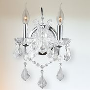 W23116C10-CL Lyre 2 Light Chrome Finish and Clear Crystal Candle Wall Sconce Light