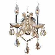 Lyre Collection 2 Light Chrome Finish and Black Crystal Candle Wall Sconce Light