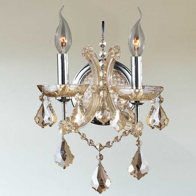 W23116C10-GT Lyre 2 Light Chrome Finish and Black Crystal Candle Wall Sconce Light