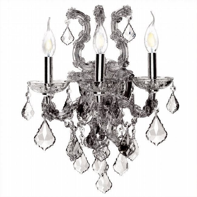 W23116C15-CL Lyre 3 Light Chrome Finish and Clear Crystal Wall Sconce Light