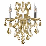 Lyre Collection 3 Light Chrome Finish and Golden Teak Crystal Candle Wall Sconce Light