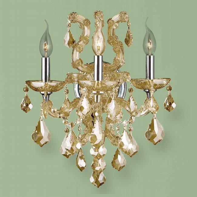 W23116C15-GT Lyre 3 Light Chrome Finish and Golden Teak Crystal Candle Wall Sconce Light