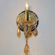 W23116C6-AM Lyre 1 Light Chrome Finish with Amber Crystal Wall Sconce