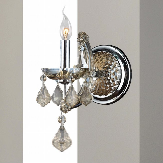 W23116C6-GT Lyre 1 Light Chrome Finish and Golden Teak Crystal Candle Wall Sconce Light