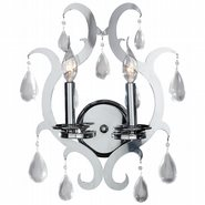 Henna Collection 2 Light Chrome Finish and Clear Crystal Wall Sconce Light