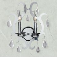 W23130C13 Henna 2 Light Chrome Finish and Clear Crystal Wall Sconce Light