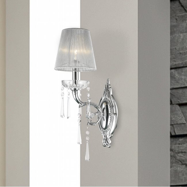 W23131c6 orleans 1 light arm chrome finish and clear crystal wall w23131c6 orleans 1 light arm chrome finish and clear crystal wall sconce light with white string shade aloadofball Gallery