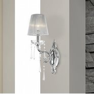 Orleans Collection 1 Light Arm Chrome Finish and Clear Crystal Wall Sconce Light with White String Shade