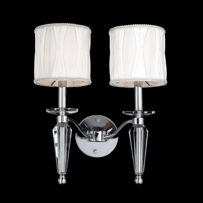WC Gatsby Light Chrome Finish Crystal Wall Sconce Light - Bathroom wall sconces with fabric shades