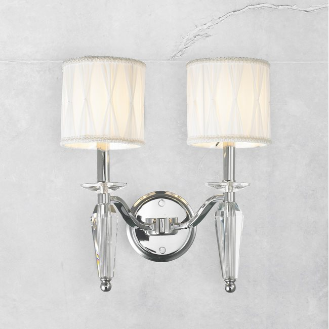 W23132c13 Gatsby 2 Light Chrome Finish Crystal Wall Sconce