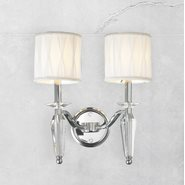 W23132C13 Gatsby 2 Light Chrome Finish Crystal Wall Sconce Light with White Fabric Shade