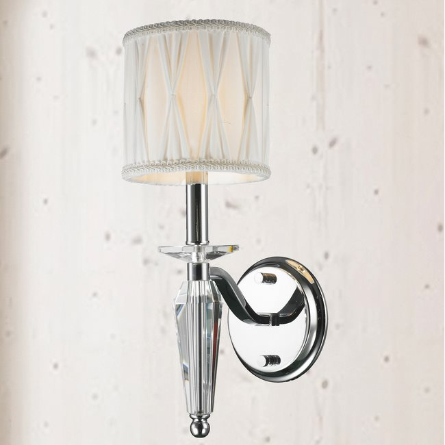 W23132C6 Gatsby 1 Light Arm Chrome Finish and Clear Crystal Wall Sconce Light with White Fabric Shade