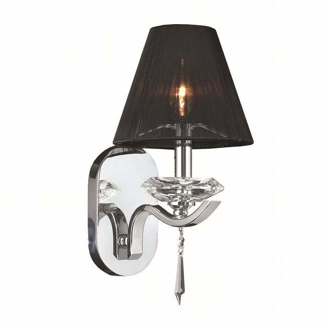 W23133C7 Gatsby 1 Light Arm Chrome Finish and Clear Crystal Wall Sconce Light with Black String Shade
