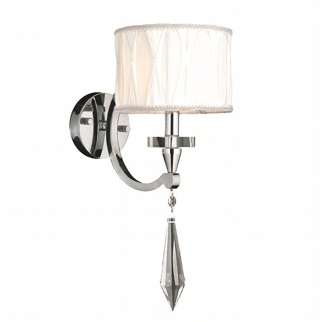 W23134C8 Cutlass 1 Light Arm Chrome Finish and Clear Crystal Wall Sconce Light with White Fabric Shade