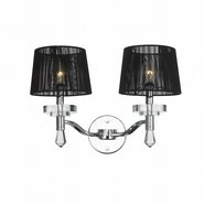 W23135C17 Gatsby 2 Light Chrome Finish Crystal Wall Sconce Light with Black String Shade - Discontinued