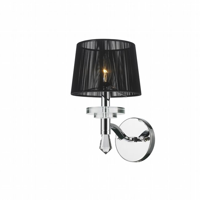 W23135C7 Gatsby 1 Light Arm Chrome Finish and Clear Crystal Wall Sconce Light with Black String Shade