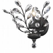 W23152F12 Aspen 1-Light Dark Bronze Finish and Clear Crystal Floral Wall Sconce Light 12 in. W x 13 in. H Medium