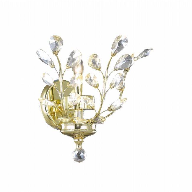 W23152C12 Aspen 1 Light Gold Finish Crystal Wall Sconce Light