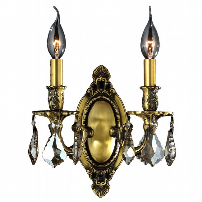 W23301B9-GT Windsor 2 light Antique Bronze Finish with Golden Teak Crystal Wall Sconce - Discontinued
