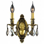 W23301B9-GT Windsor 2 light Antique Bronze Finish with Golden Teak Crystal Wall Sconce