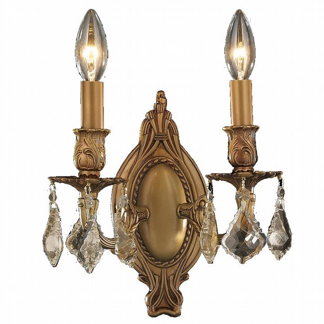 W23301FG9-GT Windsor 2 Light French Gold Finish and Golden Teak Crystal Wall Sconce Light