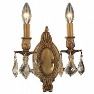 Windsor 2 Light French Gold Finish and Golden Teak Crystal Wall Sconce Light