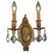 W23301FG9-CL Windsor 2 light French Gold Finish with Clear Crystal Wall Sconce