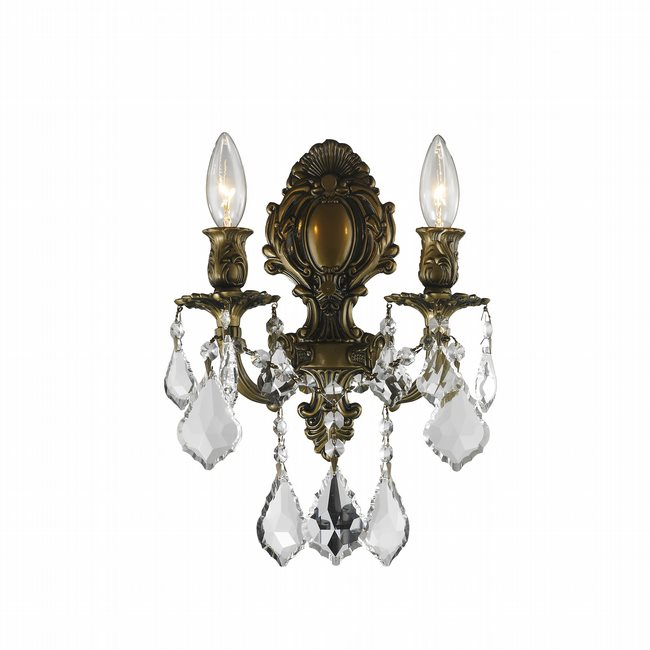 W23313B12 Versailles 2 light Antique Bronze Finish with Clear Crystal Wall Sconce