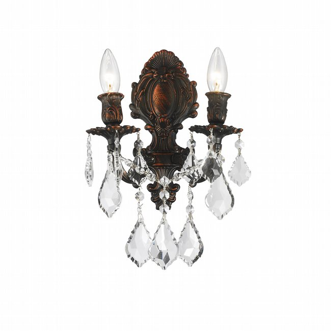 W23313F12 Versailles 2 light Flemish Brass Finish with Clear Crystal Wall Sconce
