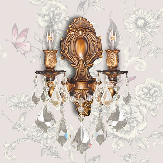 W23313FG12-GT Versailles 2 light French Gold Finish with Golden Teak Crystal Wall Sconce