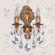 Versailles 2 light French Gold Finish with Clear Crystal Wall Sconce
