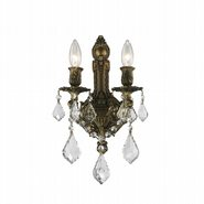 W23314B12 Versailles 2 Light Antique Bronze Finish and Clear Crystal Wall Sconce Light