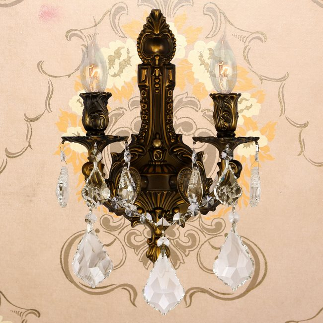 W23314B12-GT Versailles 2 light Antique Bronze Finish and Golden Teak Crystal Wall Sconce