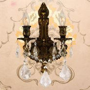 W23314F12-GT Versailles 2 light Flemish Brass Finish with Golden Teak Crystal Wall Sconce - Discontinued