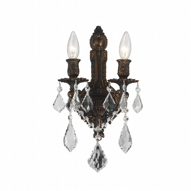 W23314F12 Versailles 2 light Flemish Brass Finish with Clear Crystal Wall Sconce