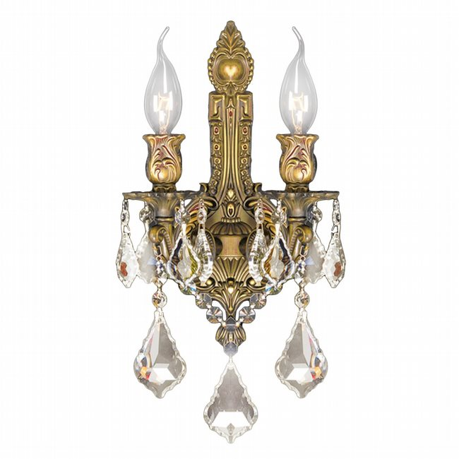 W23314FG12-GT Versailles 2 light French Gold Finish and Golden Teak Crystal Wall Sconce Light - Discontinued