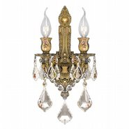 W23314FG12-GT Versailles 2 light French Gold Finish and Golden Teak Crystal Wall Sconce Light