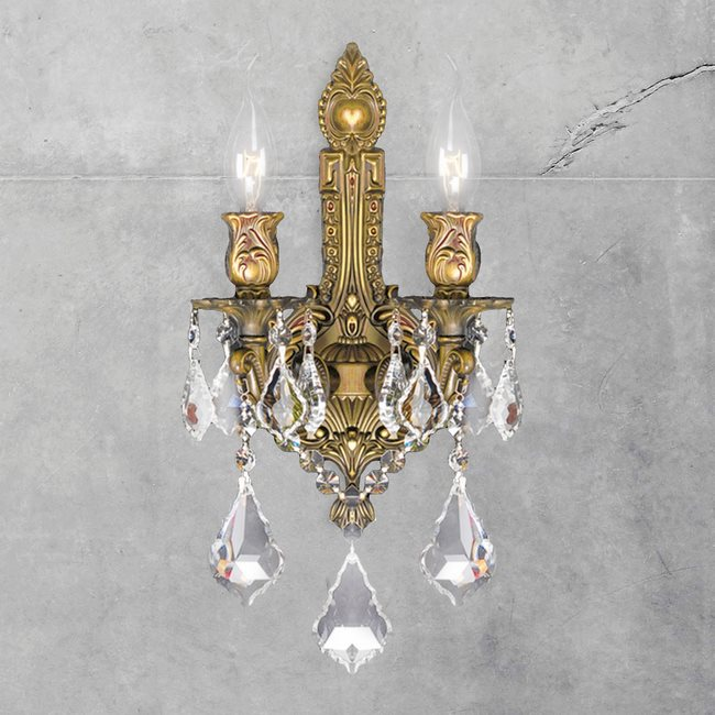 W23314FG12 Versailles 2 light French Gold Finish and Clear Crystal Wall Sconce Light