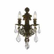 W23315B12 Versailles 2 Light Antique Bronze Finish and Clear Crystal Wall Sconce Light