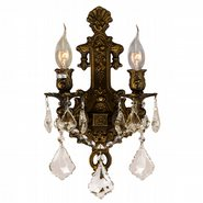 W23315B12-GT Versailles 2 light Antique Bronze Finish and Golden Teak Crystal Wall Sconce