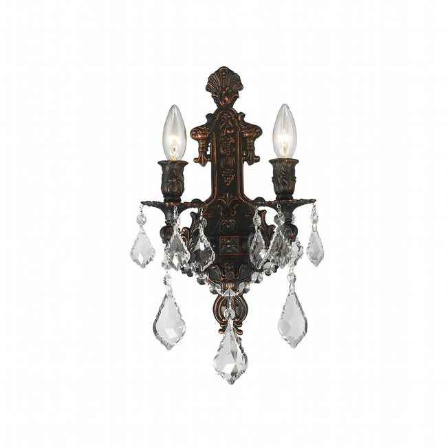 W23315F12 Versailles 2 Light Flemish Brass Finish Crystal Wall Sconce Light