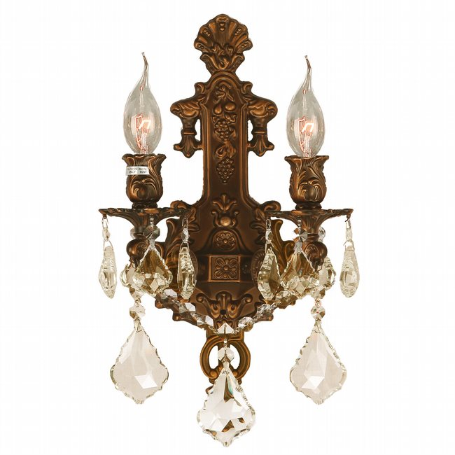 W23315FG12-GT Versailles 2 light French Gold Finish and Golden Teak Crystal Wall Sconce - Discontinued