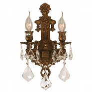 W23315FG12 Versailles 2 light French Gold Finish and Clear Crystal Wall Sconce