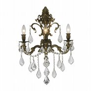 W23316B17 Versailles 3 Light Antique Bronze Finish and Clear Crystal Wall Sconce Light